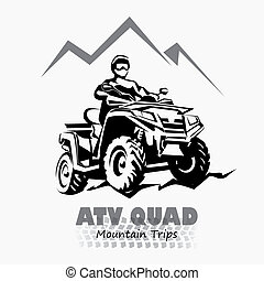 atv, quad bike stylized silhouette vector symbol, design element for logo or emblem
