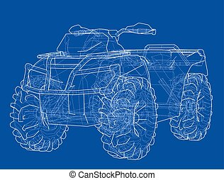 ATV quadbike concept outline. Vector rendering of 3d....