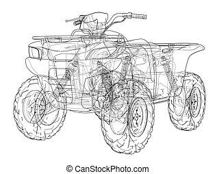 ATV quadbike concept outline. Wire-frame style. 3d...