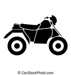 atv, quatro, pretas, motocicleta, rodas, ícone