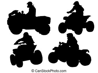 ATV races - Silhouettes athletes ATV during races