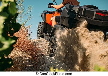 Atv rider climbing the sand mountain, back view