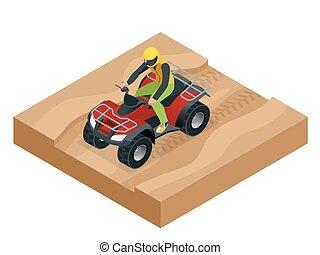 ATV rider in the action. Quad bike ATV isometric vector illustration. Motocross bike icon.