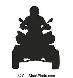atv, rider., vecteur, silhouette