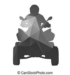 ATV rider, vector abstract silhouette