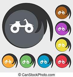 ATV sign icon. Symbols on eight colored buttons. Vector