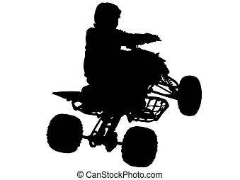 ATV sport races - Silhouettes athletes ATV during races on...