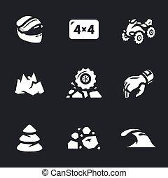 atv, vetorial, jogo, icons.