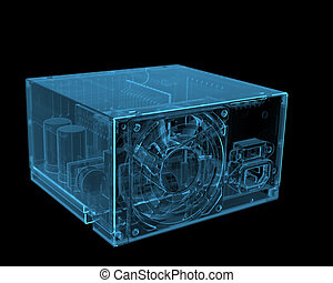 ATX PC power supply (3D xray blue transparent)
