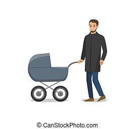 atya, elszigetelt, újszülött, vektor, gyermek, babakocsi