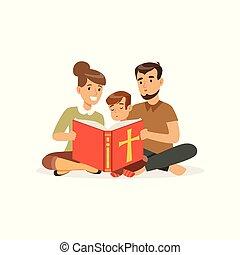 atya, fiú, anya, tervezés, vallásos, betűk, szülők, emelet, vektor, child., jámbor, keresztény, emberek., ülés, karikatúra, lakás, family., book., felolvasás