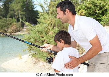 atya fiú, halászat, -ban, egy, tó