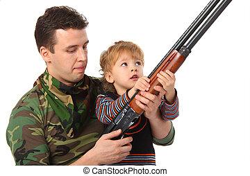 atya fiú, noha, pisztoly