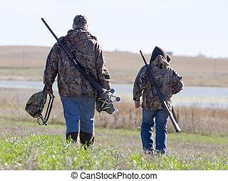 atya fiú, vadászat