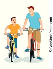atya, karikatúra, bicikli elnyomott, fiú