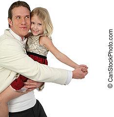 atya lány, tánc, alatt, formals, lény, buta