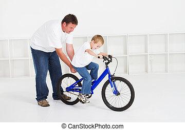 atya, tanítás, fiú, kerékpározik