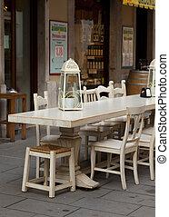 außenrestaurant, tisch