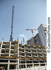 au-dessous, construction, gratte-ciel