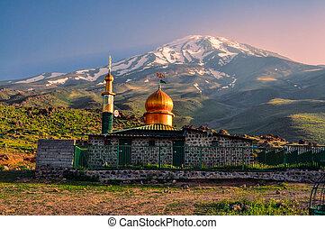 au-dessous, mosquée, damavand