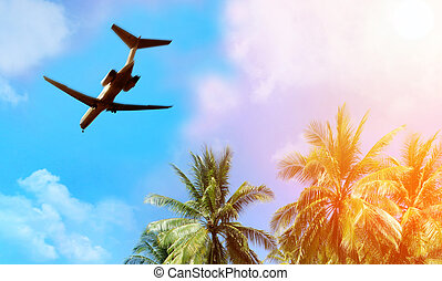 au-dessus, avion, nuages