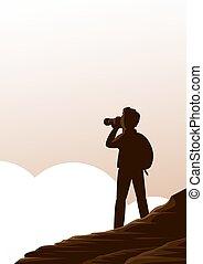 au-dessus, clouds., montagnes, touriste, homme appareil-photo