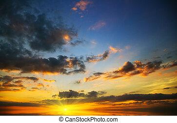 au-dessus, coucher soleil, sea., beau