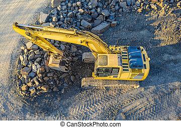 au-dessus, excavateur, site construction