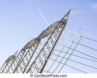 au-dessus, haute vue, pylônes, tension