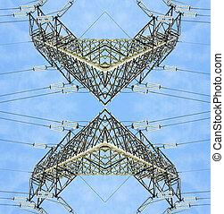 au-dessus, haute vue, pylônes, tension, symétrique