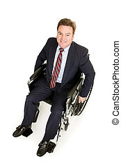 au-dessus, homme affaires, handicapé