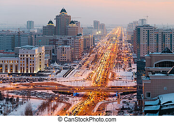 au-dessus, kazakhstan., grand, horizon, va, vue, avenue, astana