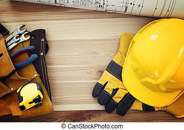 au-dessus, outils, table, directement, travail