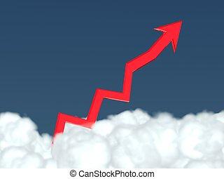 au-dessus, profit, (figure), monter, clouds., élevé, flèche