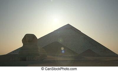 au-dessus, pyramides, levers de soleil, sphinx