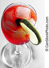 au-dessus, rouges, cocktail, vue