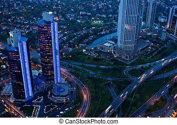 au-dessus, soir, trafic, vue, city.
