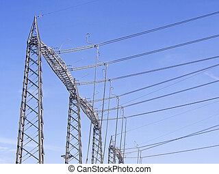 au-dessus, vue, puissance, élevé, pylônes, tension, plante