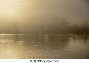 aube, brumeux, rivière