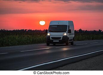 aube, crépuscule, minibus, mouvements