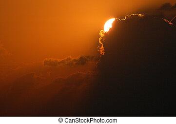 aube, dans nuages