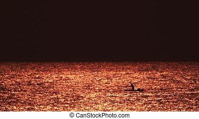 aube, malawi, lac, filet, pêcheur, lancement