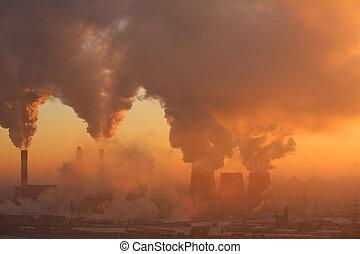 aube, polluer, usine