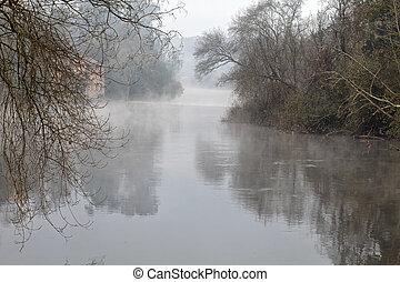 aube, rivière, romantique