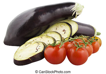 aubergine and tomatoes vegetable isolated on white