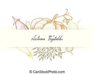 aubergine, celeriac, hand, herfst, pompoennen, brinjal, ...
