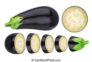 Aubergine elements isolated on white background. Whole and sliced eggplant, with clipping path