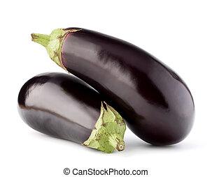 aubergine, fond, isolé, ou, aubergine, légume, coupure, blanc