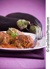 aubergine, meatballs.