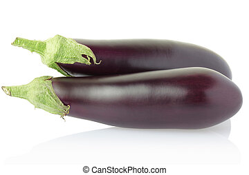 Aubergine or eggplant isolated on white, clipping path included